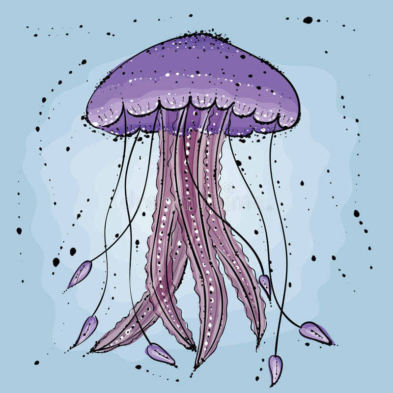 Jellyfish. Hand drawn illustration in watercolor style vector illustration