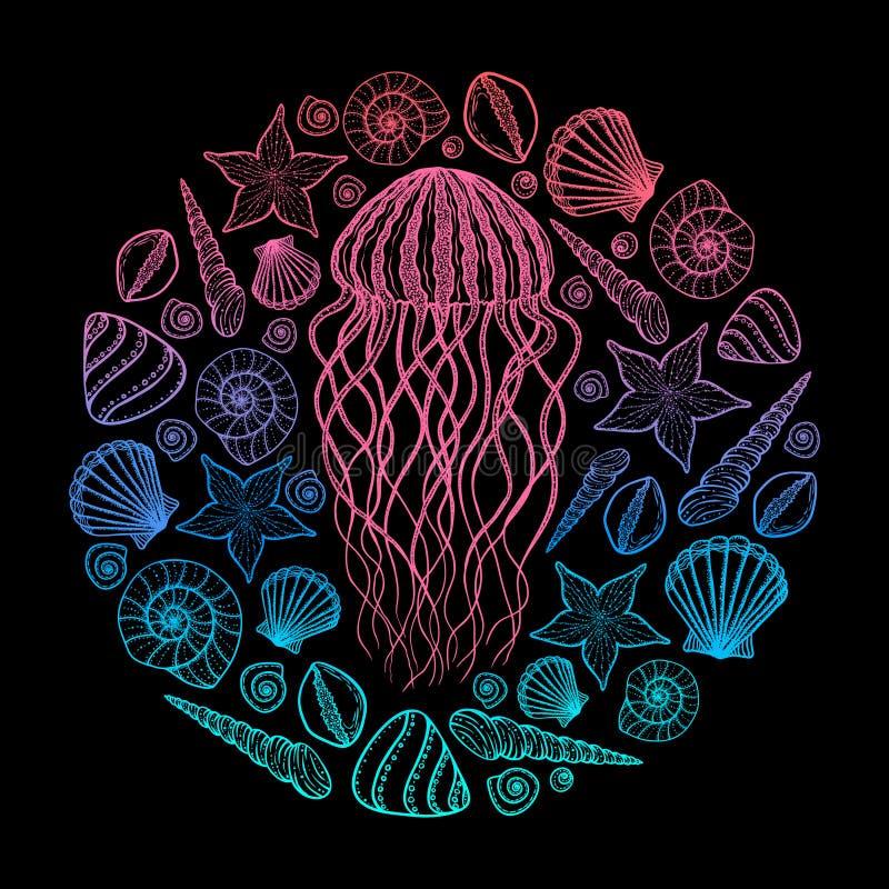 Jellyfish i skorupy w kreskowej sztuki stylu Ręka rysująca wektorowa ilustracja Set oceanów elementy ilustracji