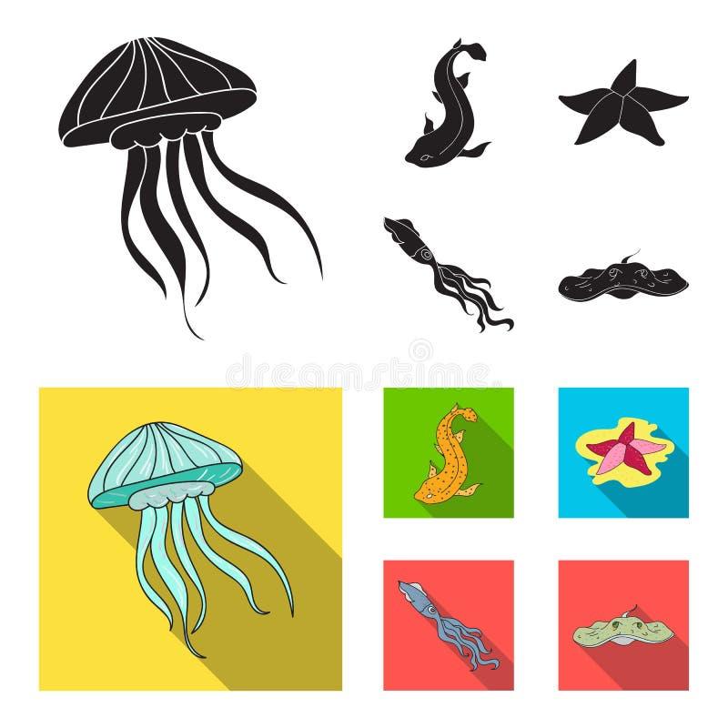 Jellyfish, kałamarnica i inni gatunki, Dennych zwierząt ustawiać inkasowe ikony w czarnym, mieszkanie symbolu stylowy wektorowy z royalty ilustracja