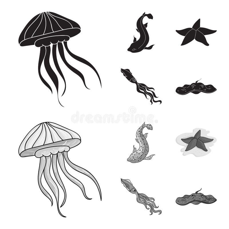 Jellyfish, kałamarnica i inni gatunki, Dennych zwierząt ustawiać inkasowe ikony w czerni, monochromu symbolu stylowy wektorowy za ilustracji