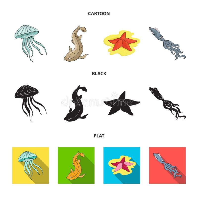 Jellyfish, kałamarnica i inni gatunki, Dennych zwierząt ustawiać inkasowe ikony w kreskówce, czerń, mieszkanie symbolu stylowy we ilustracji