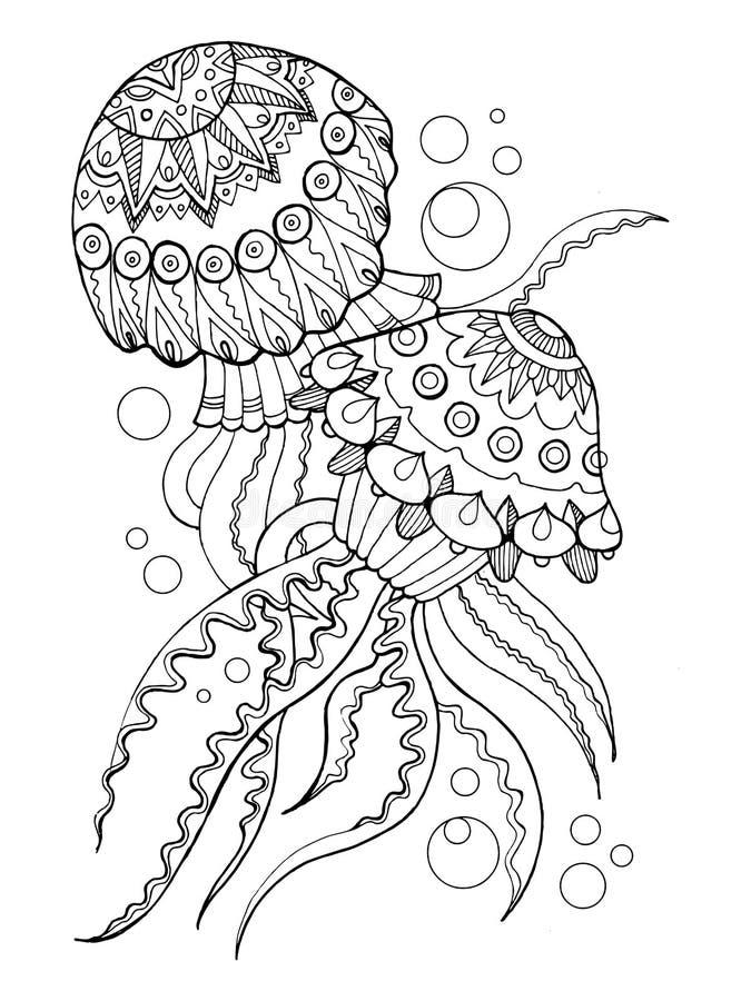 Jellyfish kolorystyki książki wektoru ilustracja ilustracja wektor