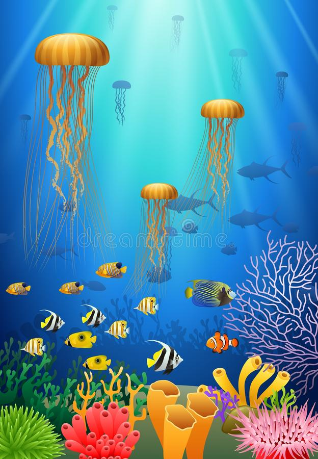 Jellyfish swim in the underwater. And coral. illustration royalty free illustration