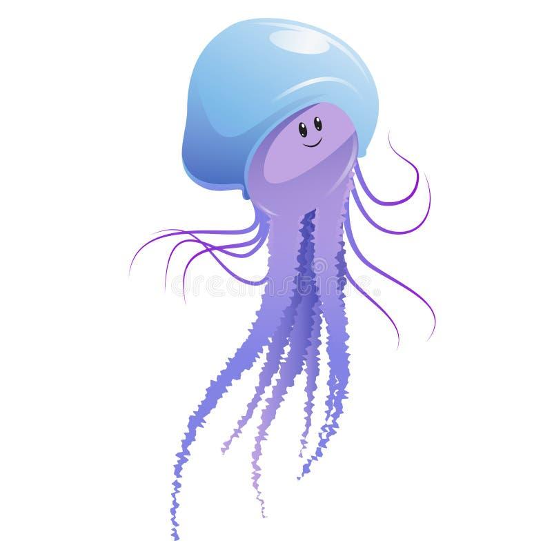 Jellyfish. Vector image of a cartoon happy jellyfish stock illustration