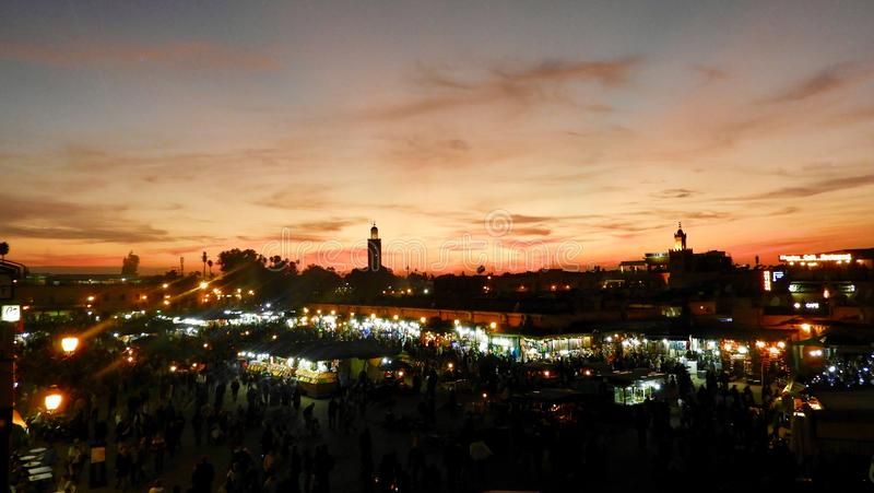 Jema EL-fna, Marakesh, Maroc, Abend stockfotos