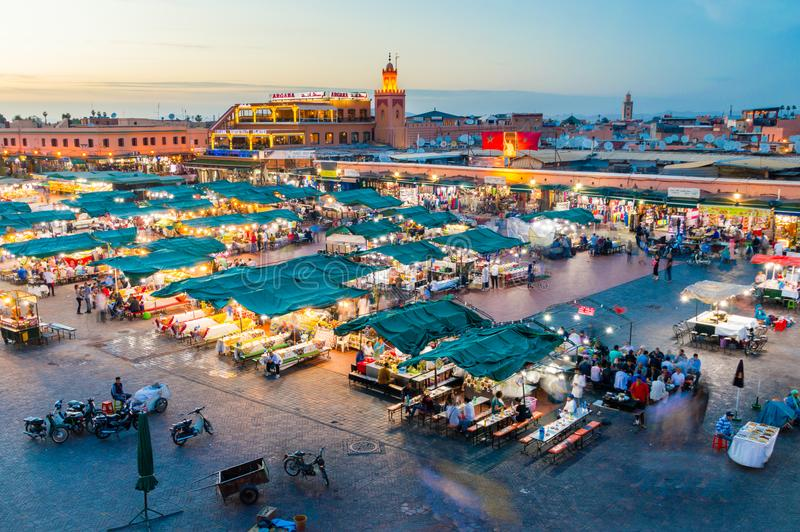 Jemaa el-Fnaa square and market place at dusk. stock image