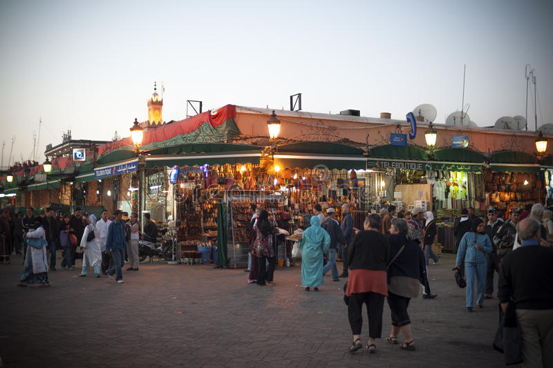 Jemaa elFnaa正方形在马拉喀什 库存图片