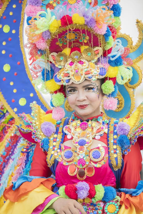 Colorfully dressed participant on annual parade royalty free stock photo