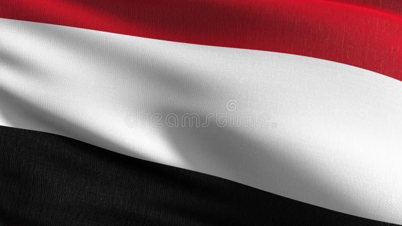 Jemen flagi państowowej dmuchanie w wiatrze odizolowywającym Oficjalny patriotyczny abstrakcjonistyczny projekt 3D renderingu ilu ilustracji