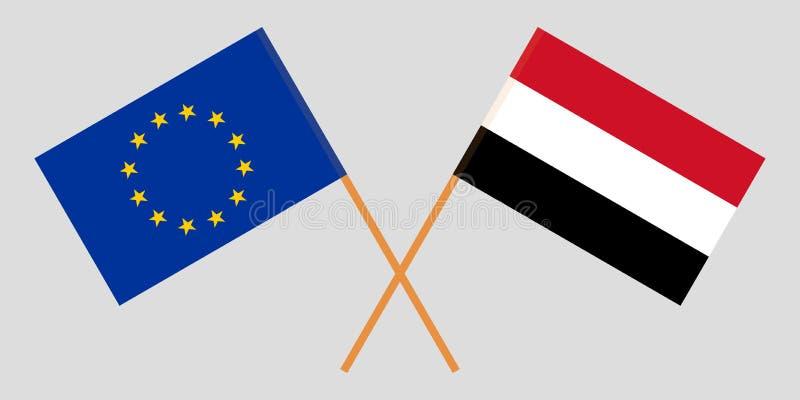 Jemen i UE Jemeńskie i europejczyk flagi Oficjalni kolory Poprawna proporcja wektor ilustracji