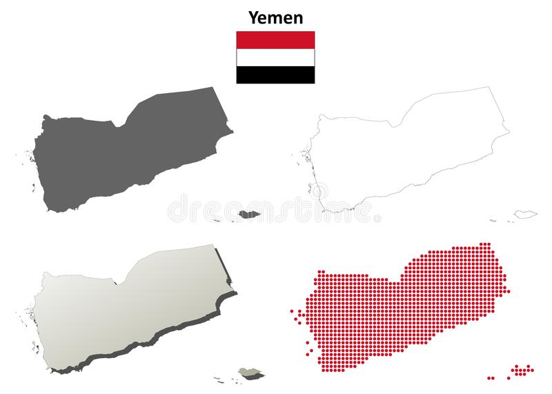 Jemen konturu mapy set ilustracji