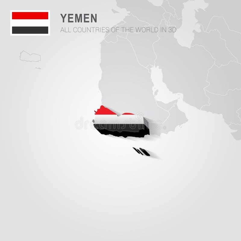 Jemen rysujący na szarości mapie royalty ilustracja