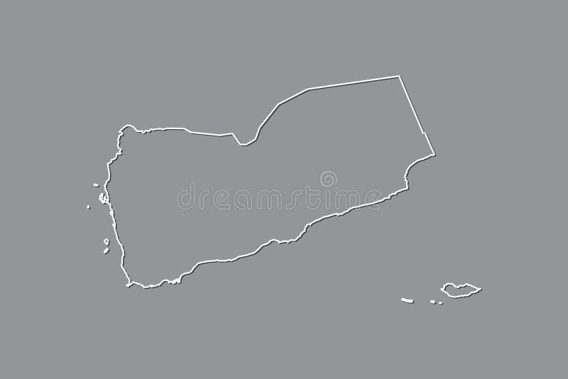 Jemen wektorowa mapa z pojedynczą rabatowej linii granicą używać białego kolor na ciemnej tło ilustracji fotografia stock