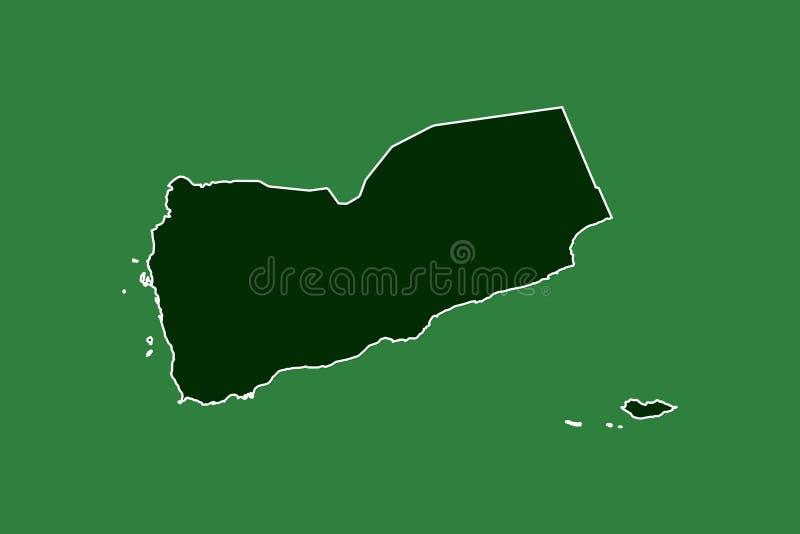 Jemen wektorowa mapa z pojedynczą rabatowej linii granicą używać zielonego koloru teren na ciemnej tło ilustracji zdjęcie royalty free