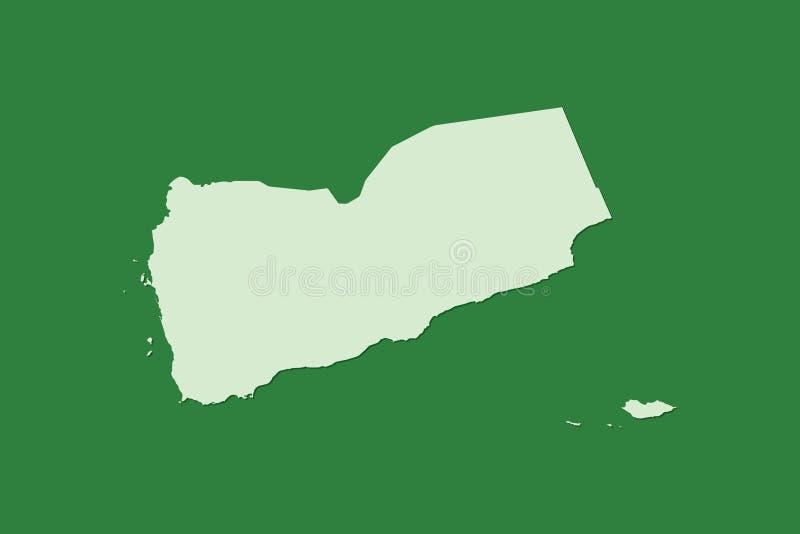 Jemen wektorowa mapa z pojedynczym gruntowym terenem używać zielonego kolor na ciemnej tło ilustracji zdjęcia stock