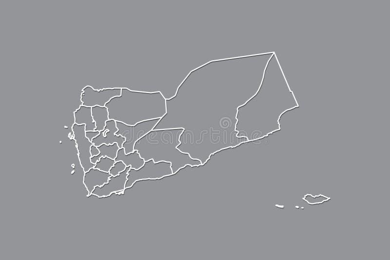 Jemen wektorowa mapa z rabatowymi liniami regiony używa szarość barwi na ciemnej tło ilustracji obrazy stock