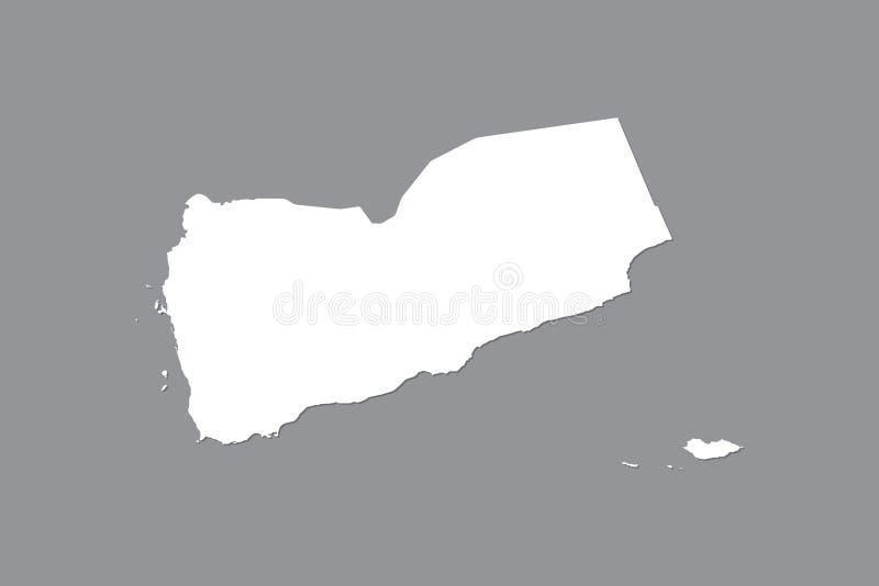 Jemen wektorowa mapa z zintegrowanym gruntowym terenem używać białego kolor na ciemnej tło ilustracji obraz stock