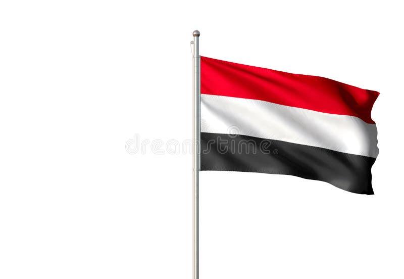 Jemenstaatsflagge, die lokalisierte realistische Illustration 3d des weißen Hintergrundes wellenartig bewegt lizenzfreie abbildung