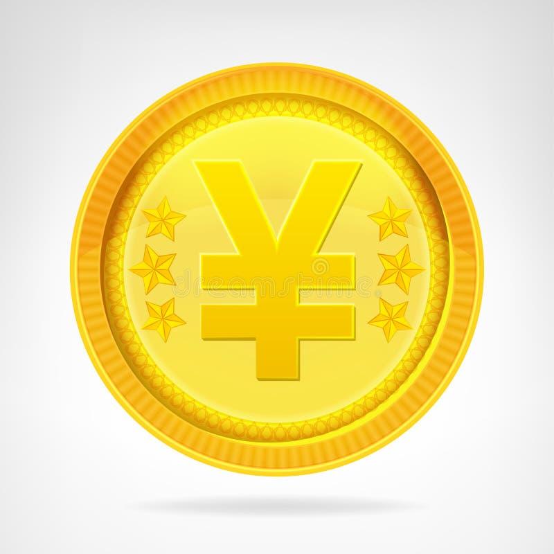 Jen waluty menniczy złoty przedmiot odizolowywający ilustracji