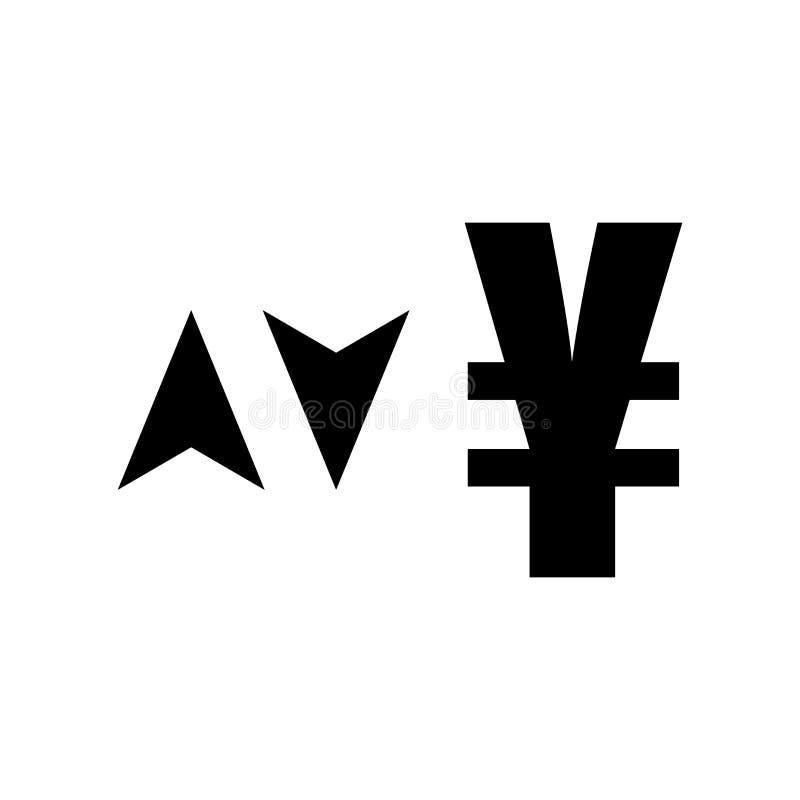 Jen waluty znak w górę i na dół z strzały ikony wektoru znakiem i symbol odizolowywający na białym tle, jen waluty znak z w górę  ilustracji