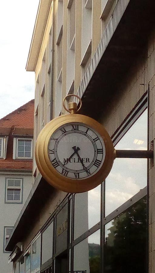 Jenaer在一块美丽的手表的街道时间 免版税库存照片
