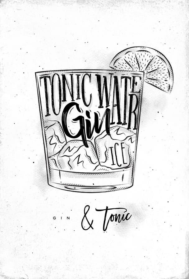 Jenever tonische cocktail vector illustratie