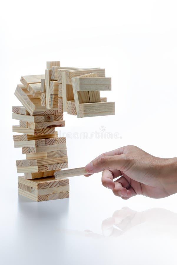 Jenga Bedrijfsstrategie stock afbeeldingen