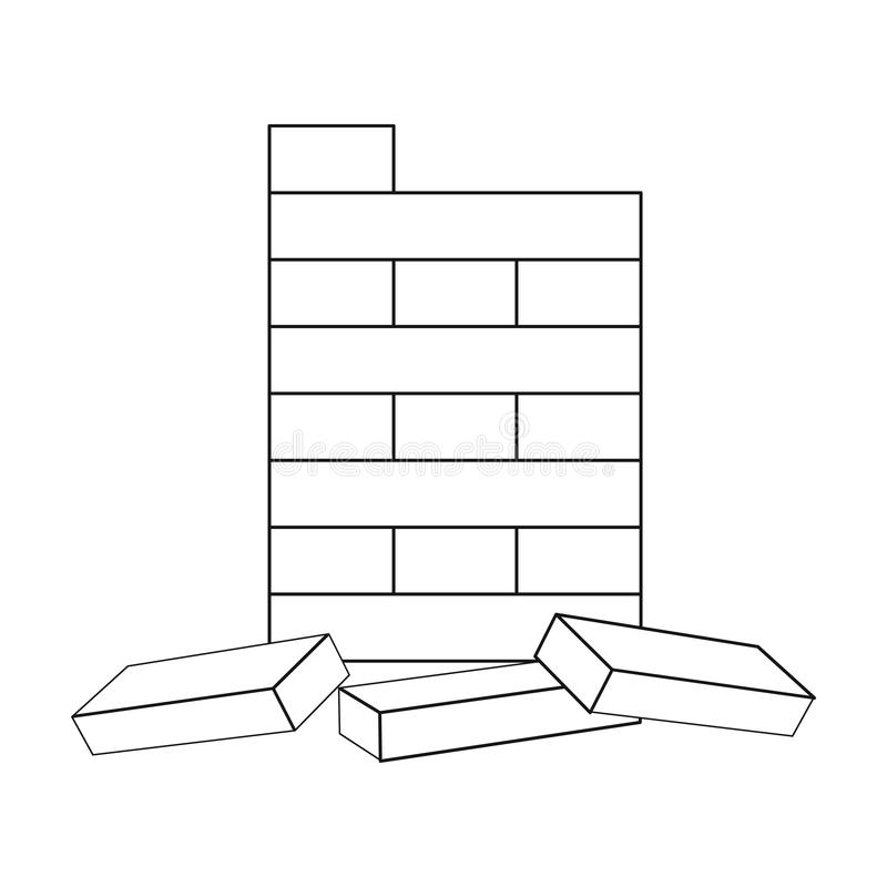 Jenga icon in outline style isolated on white background. Board games symbol stock vector illustration. Jenga icon in outline style isolated on white background royalty free illustration