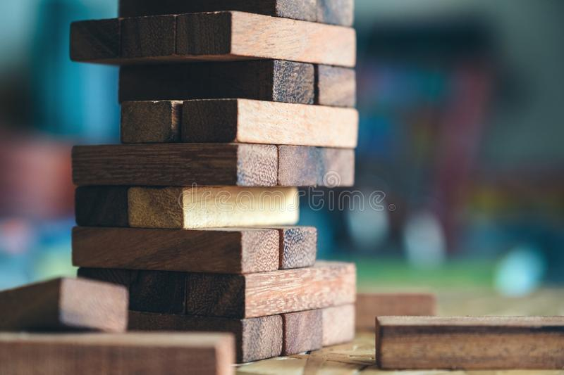 A Jenga or Tumble tower wooden block game. Closeup image of a Jenga or Tumble tower wooden block game royalty free stock photo