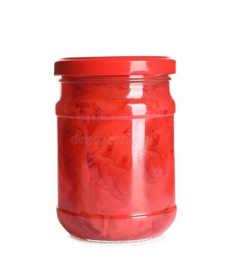 Jengibre conservado en vinagre picante en el tarro de cristal Condimento delicioso de la salsa fotografía de archivo