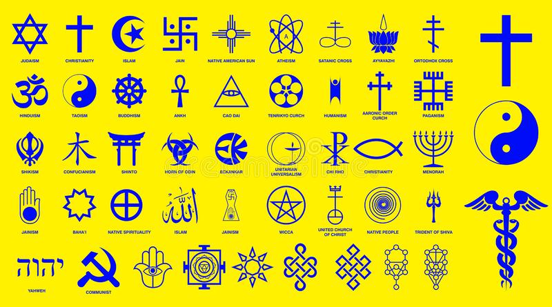 World religion symbols signs of major religious groups and other religions isolated. Easy to modify royalty free illustration