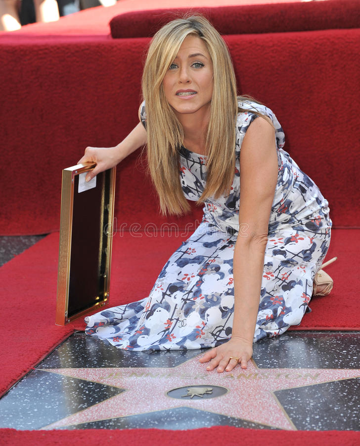 Jennifer Aniston. On Hollywood Boulevard where she was honored with the 2,462nd star on the Hollywood Walk of Fame. February 22, 2012 Los Angeles, CA Picture royalty free stock image