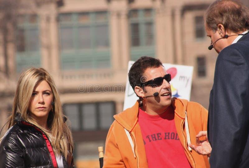 Jennifer Aniston and Adam Sandler royalty free stock images
