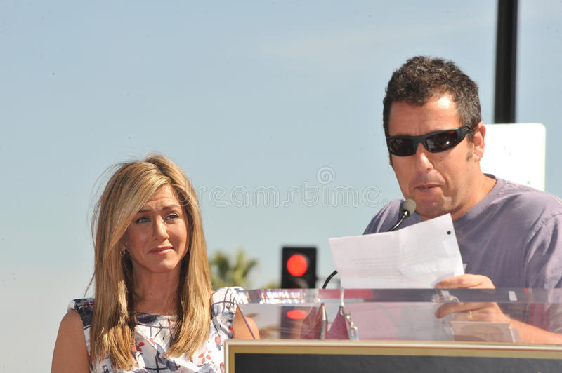 Jennifer Aniston, Adam Sandler stock foto's