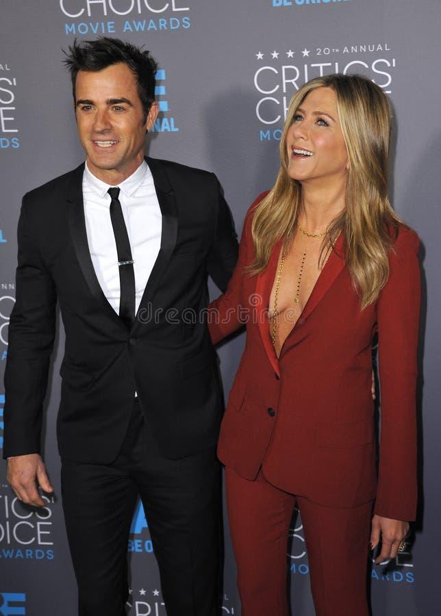 Jennifer Aniston et Justin Theroux photographie stock libre de droits