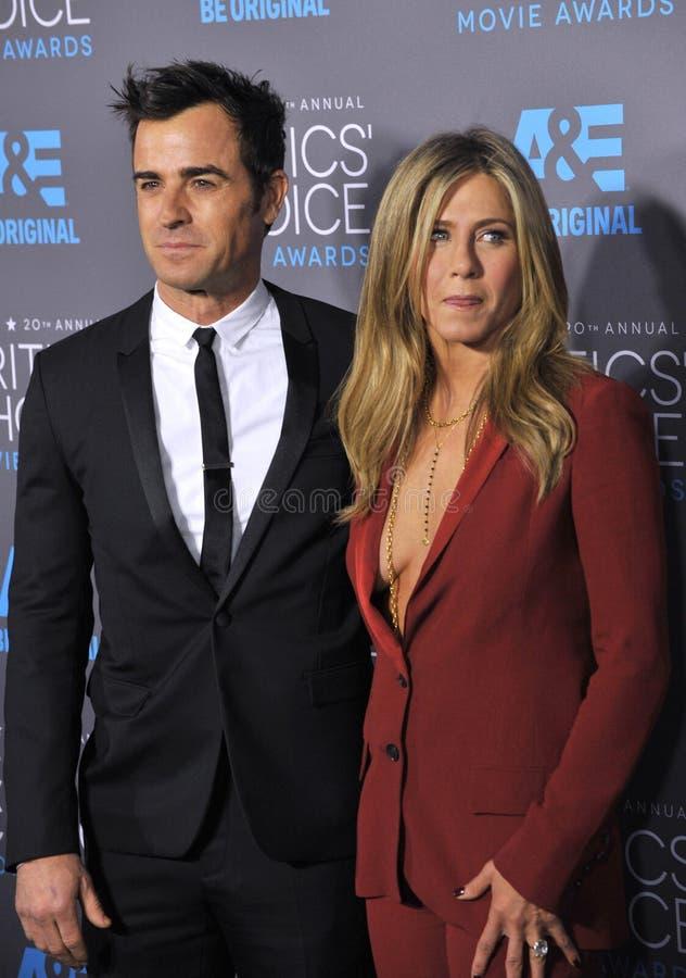 Jennifer Aniston et Justin Theroux photos libres de droits