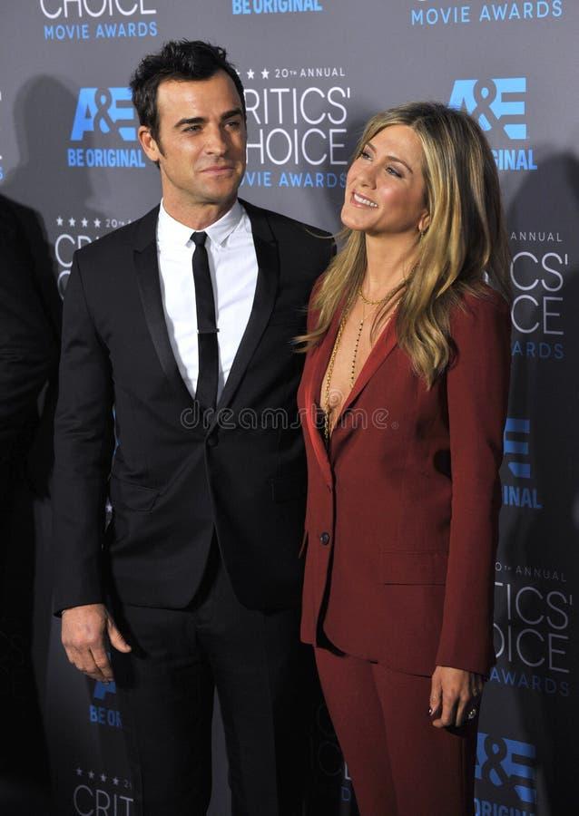 Jennifer Aniston et Justin Theroux image stock