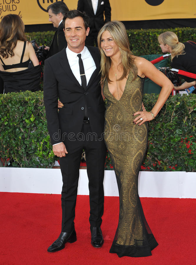 Jennifer Aniston et Justin Theroux photos stock