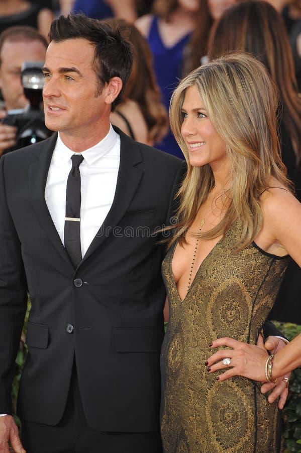 Jennifer Aniston et Justin Theroux photographie stock