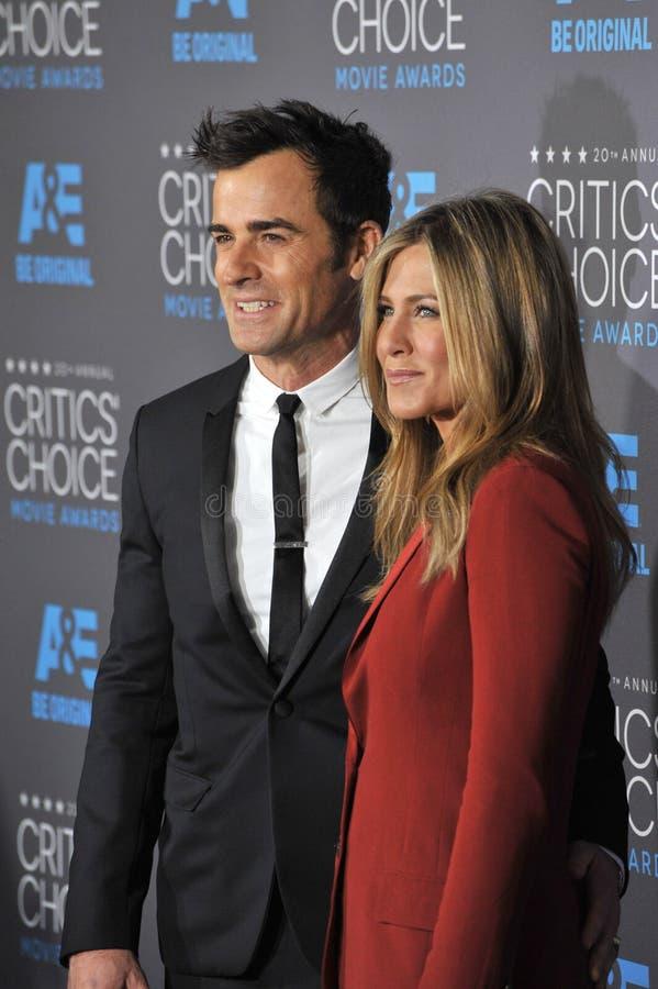 Jennifer Aniston & Justin Theroux royaltyfria bilder
