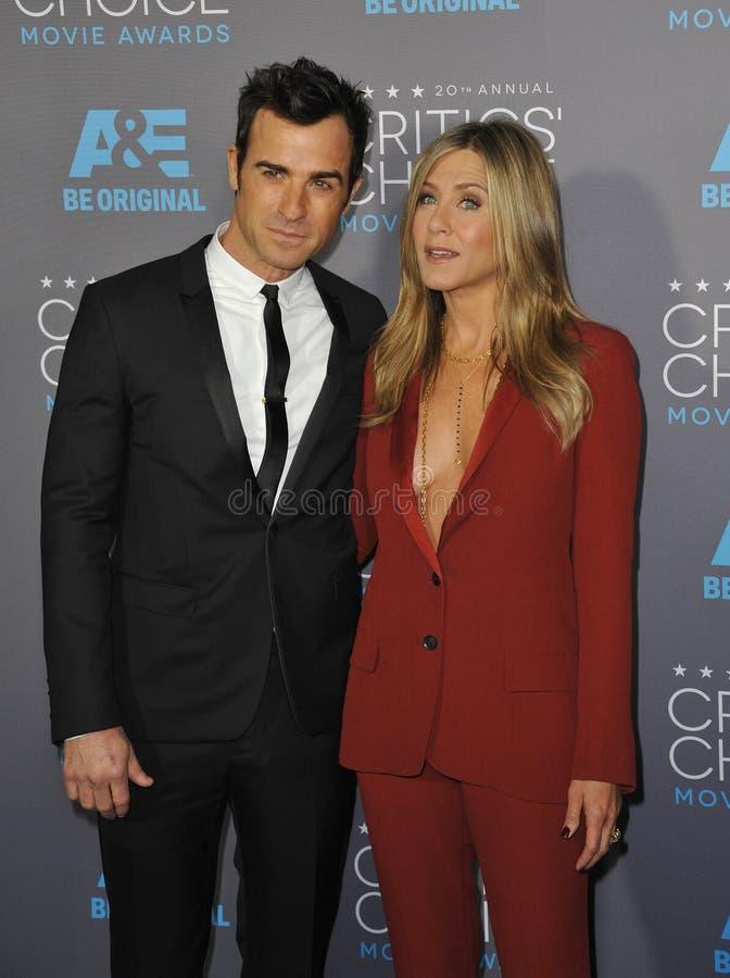 Jennifer Aniston y Justin Theroux imágenes de archivo libres de regalías