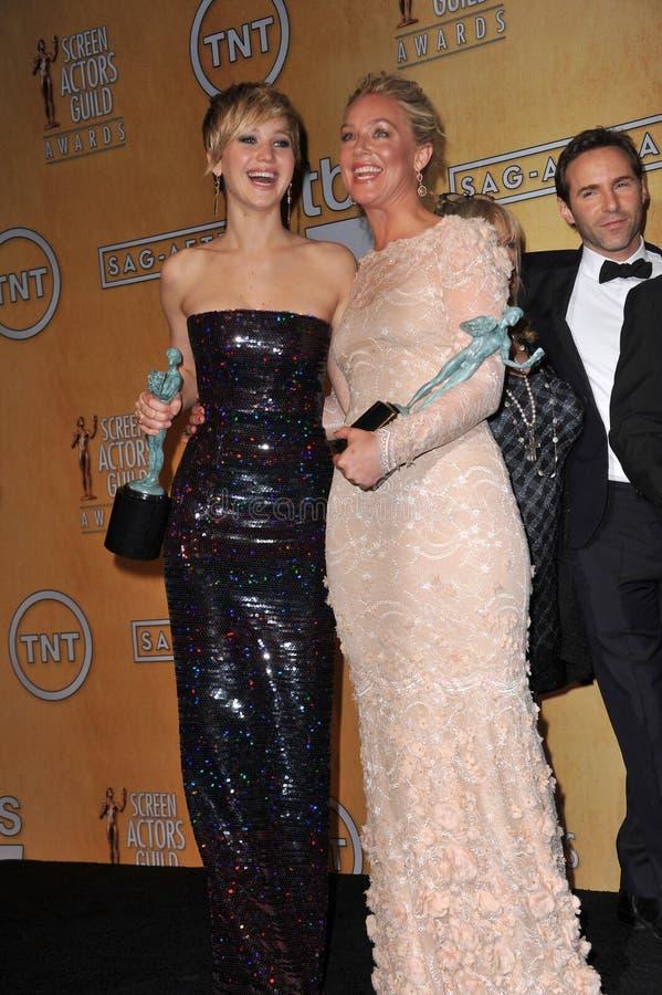 Jennifer Lawrence & Elisabeth Rohm stock fotografie
