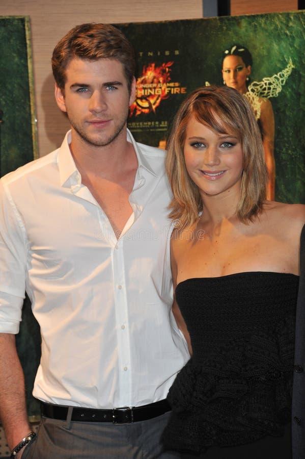 Jennifer Lawrence Liam Hemsworth arkivfoton