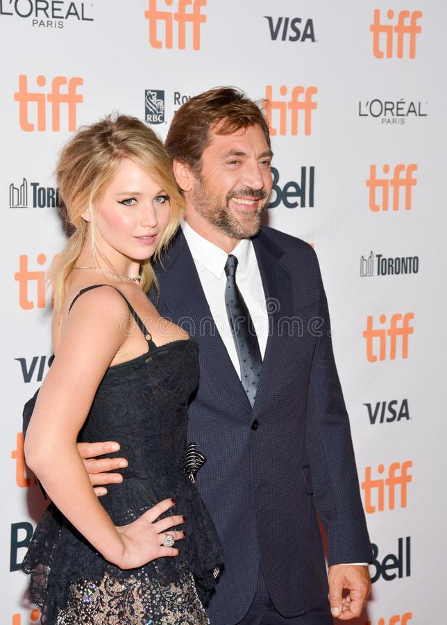 Jennifer Lawrence at the `Mother` Premiere at Toronto International Film Festival. Javier Bardem and Jennifer Lawrence attend the 2017 Toronto International Film royalty free stock images