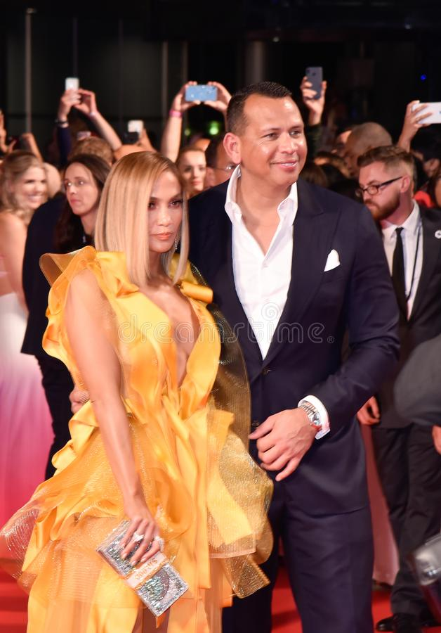 Jennifer Lopez and Alex Rodriguez at the premiere of Hustlers movie at Toronto International Film Festival royalty free stock image