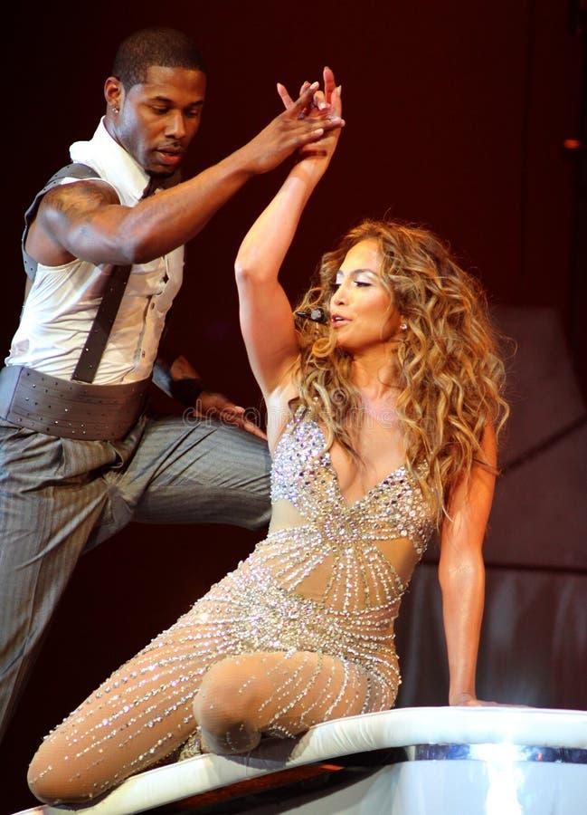 Jennifer Lopez executa no concerto foto de stock