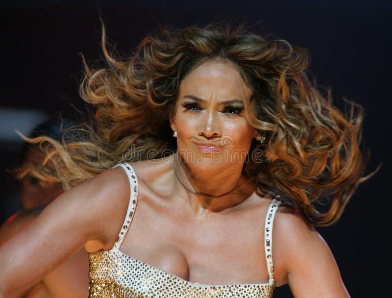 Jennifer Lopez executa no concerto imagens de stock