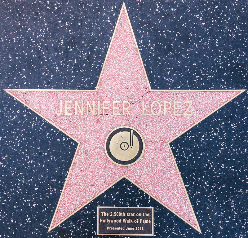 Jennifer Lopez star. Los angeles, CA. 12th october, 2015. Jennifer Lopez star on the Walk of fame, Hollywood. also known as J. Lo, is an American actress, author stock image