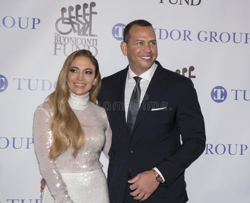 Jennifer Lopez y Alex Rodriguez foto de archivo