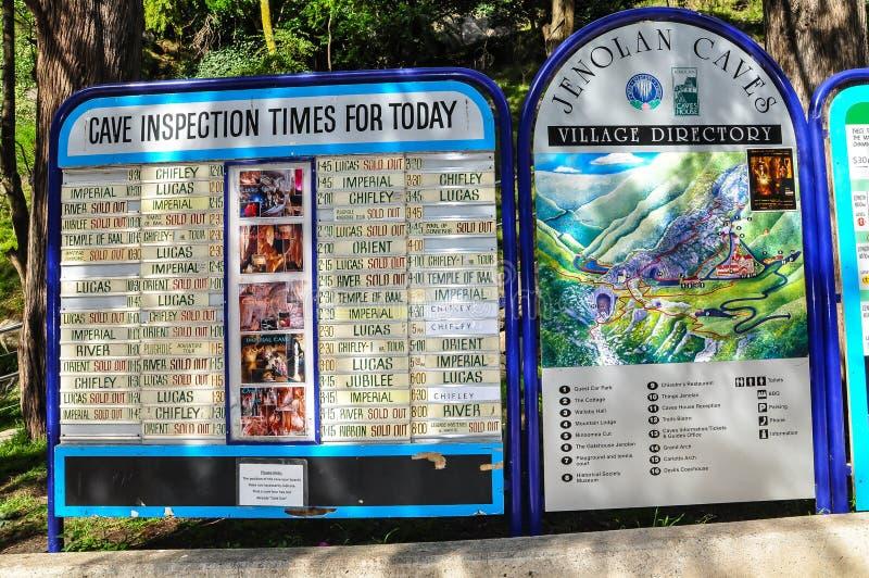 Jenolan Caves Village directory board located within the Jenolan Karst Conservation Reserve. Blue Mountain, Australia. – On April 14, 2011 - Jenolan royalty free stock image